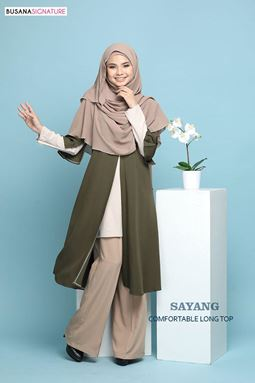 SAYANG LONG TOP ( Seaweed Green)