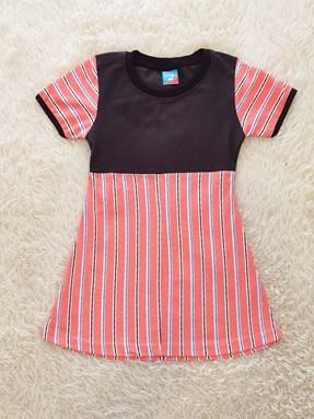 Happy Kids Dress : Peach Stripes (size 5/6)