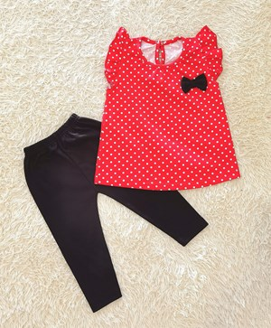 Baby Girl Set : RED POLKA DOT WITH BLACK PANT  (9m - 36m) SPG