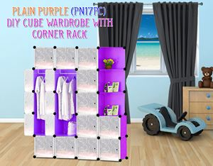 Plain Purple 17C DIY Wardrobe With Corner Rack (PN17PC)