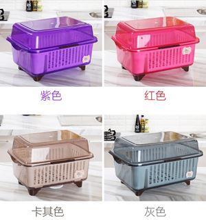 Dust Proof Plastic Premium Dishes Drainer with Cover Kitchen Storage Rack (Size : 48cm x 36cm x 28cm)