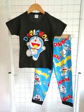 Pyjamas Short Sleeve PLAIN DORAEMON Black (Kids 2 -8)