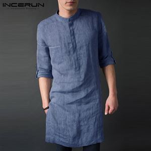 INCERUN Mens Shirt KURTA Long Sleeve Stand Collar