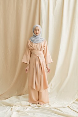Kaylea Wrap Top & Wide Leg Pants (Sandy Nude)
