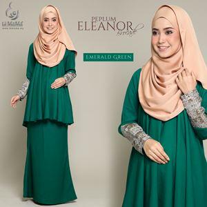 Peplum Eleanor Brocade : Emerald Green
