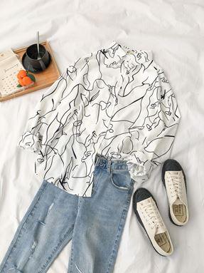Messy Printed Shirt