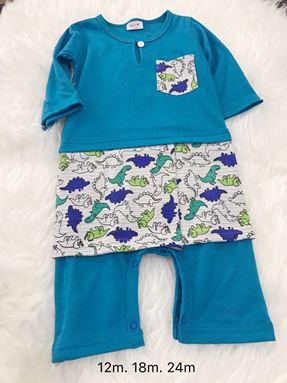 Rompers Baju Melayu 9-24 bulan ( Blue with Dinosaurs Sampin)