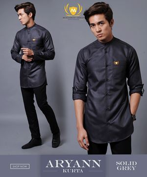 KURTA ARYANN 1ST BATCH ( SOLID GREY )