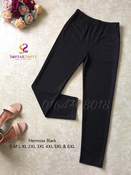 HERMOSA BLACK TANPA GOSOK  ( SAIZ S M L XL 2XL 3XL 4XL 5XL 6XL )