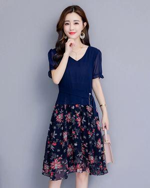 Flower Chiffon Dress (Large Size)