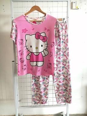 Pyjamas Dewasa Short Sleeve Hello Kitty Love Pink