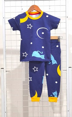 BABY 6M  Pyjamas CAT STAR MOON BLUE (HELAL)