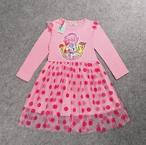 @  L035 LITTLE PONY LONG SLEEVE DRESS ( LIGHT PINK ) SZ 90 - 140
