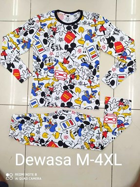 Pyjamas MICKEY AND DONALD DUCK WHITE : Size DEWASA M - 4XL