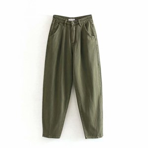 PLEATED LOOSE HIGH WAIST BAGGY JEANS IN DARK GREEN