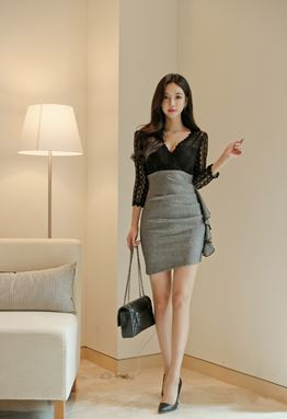 V-Neck Stitching Dress