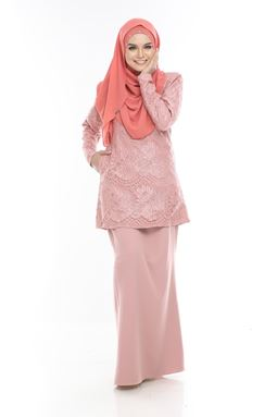 BLOW OUT CLEARANCE ~  Kurung Moden Lace Auliya - Salmon Pink