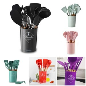 Wooden Silicone Kitchen Utensils - 12pcs Include Container  ( 5 COLOR )