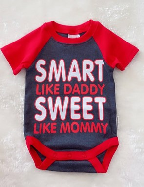 Baby Rompers RED GREY SMART : 6-9m