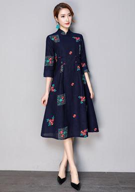 Cheongsam Long-sleeved Cotton Dress