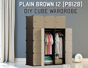 Plain Brown 12C DIY Wardrobe (PB12B)