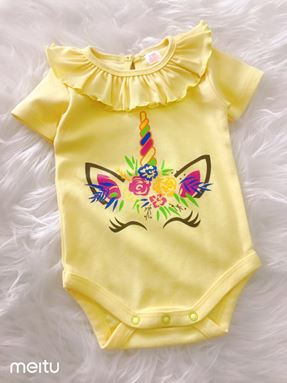 Baby Rompers Ruffle Collar - Unicorn Yellow