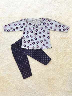 [SIZE 12/18M] Baby Girl Set : Flower on Light Grey with Dotted Black Pant