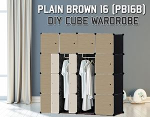 Plain Brown 16Cube Diy Wardrobe (PB16B)