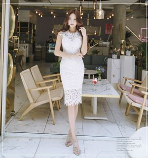 White Lace Hollow Slim Dress