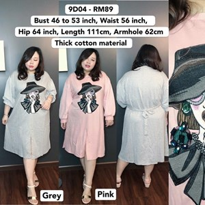 9D04 *Ready Stock *Bust 46 to 53inch /116 -135cm