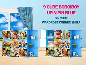 Upin Ipin Blue 9C DIY Cube w Corner Rack (BB9CB)