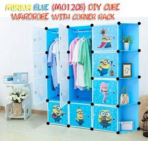 Minion Blue DIY Cube Wardrobe with Corner Rack (MO12CB)