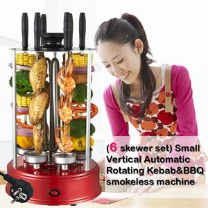 (6 skewer set) Small Vertical Automatic Rotating Kebab&BBQ  smokeless machine