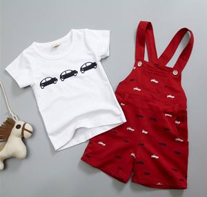 RED OVERALL BOY SET  ( SZ 80-110 )