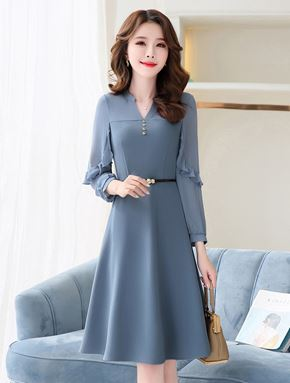 Chiffon Long Sleeve Dress