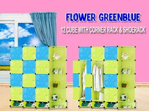 Flower GreenBlue 12 Cube With Corner Rack & Shoerack (BG12RS)