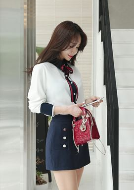 Suit Hit Color Long-sleeved Shirt + Slim Skirt