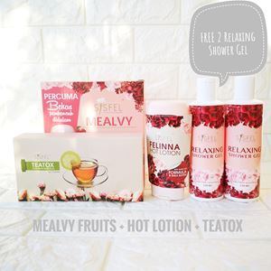 MEALVY + TEATOX + FELINNA HOT LOTION  (FREE shaker & FREE 2 unit Relaxing Shower Gel)