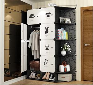 BKW8SC Modern Living BlackWhite DIY Cabinet Wardrobe (47cm Depth x 35cm x 35cm) Free*UtilityHanger*