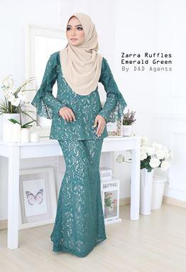 Kurung Zarra Ruffles Emerald Green