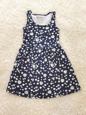 Kids Dress WHITE FLOWER BLUE BLACK : (size 2 - 14 sesuai utk 1y - 7y) HM