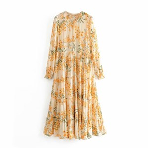 SMALL FLORAL PRINTED PLEATED DRESS