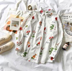 White Flower & Leaf Printed Shirt