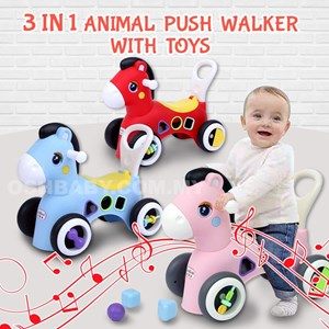 3 IN 1 ANIMAL PUSH WALKER WITH TOYS