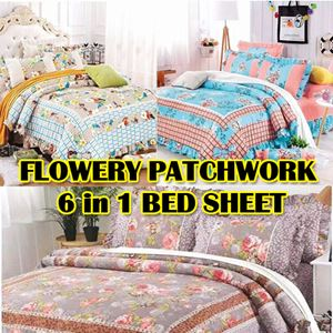 FLOWER PATCHWORK 6 IN 1 BED SHEET