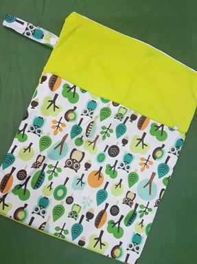 Wetbag For Cloth Diapers - Double Zip  (Owl In The Jungle)