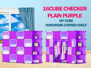 Plain Checker Purple 16C DIY Cube w Corner Rack (BP16CR)
