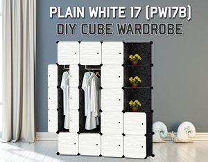 Plain White 17C Diy Wardrobe With Corner Rack (PW17BC)