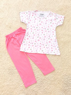 [SIZE 1/2Y] Girl Set : PASTEL PINK FLOWER DUCK WITH PINK PANT   (1y - 8y) SDM
