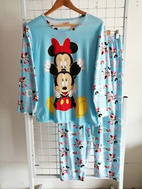 Pyjamas Dewasa Blue Mickey Minnie